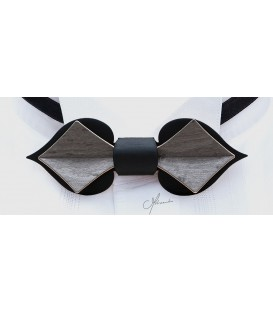 Wooden bow tie, Card in black & grey tinted Maple - MELISSAMBRE