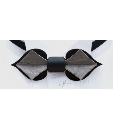 Noeud papillon en bois, Carte en Erable teinté noir & gris - MELISSAMBRE