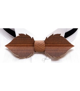 Bow tie in wood, Leaf in smoked Larch - MELISSAMBRE