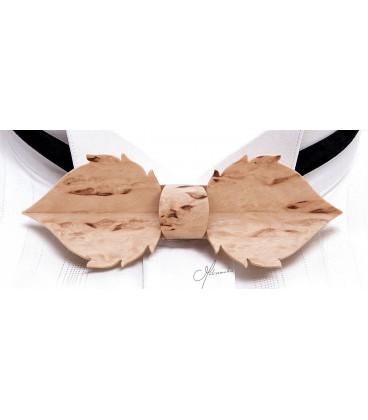 Nœud papillon bois, Feuille en Bouleau madré de Finlande - MELISSAMBRE