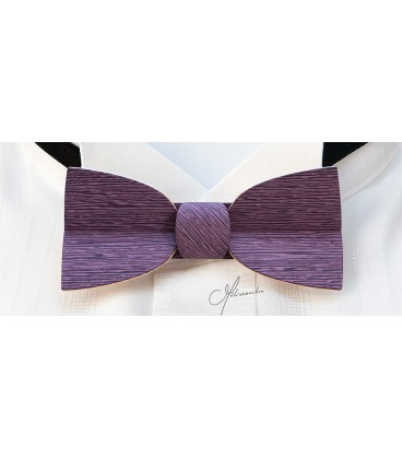 Bow tie in wood, Mellissimo in lilac tinted Koto - MELISSAMBRE