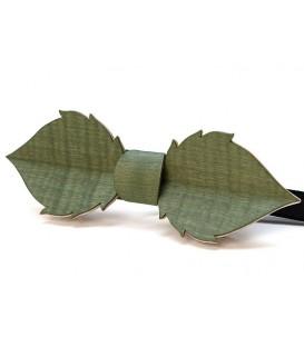 Nœud papillon en bois, Feuille en Erable teinté vert
