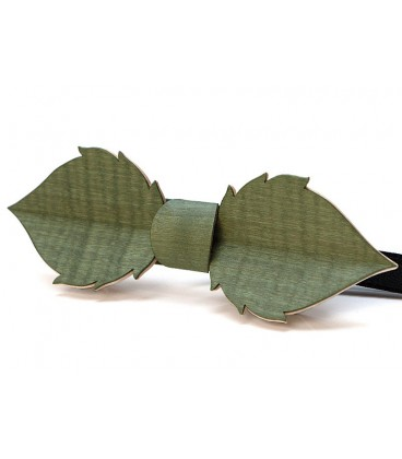 Bow tie in wood, Leaf in green tinted Maple - MELISSAMBRE