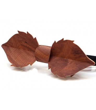 Bow tie in wood, Leaf in Vavona burl - MELISSAMBRE