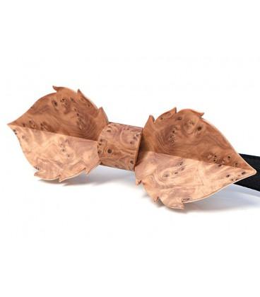 Bow tie in wood, Leaf in Yew tree burl - MELISSAMBRE