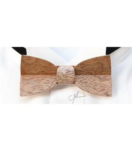 Bow tie in wood, Mellissimo in silvery Bubinga - MELISSAMBRE