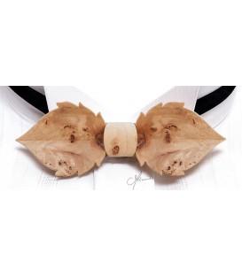 Bow tie in wood, Leaf in Poplar burl - MELISSAMBRE