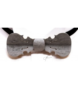 Bow tie in wood, Violin pearl grey - MELISSAMBRE