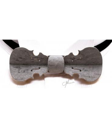 Nœud papillon bois, Violon gris perlé - MELISSAMBRE