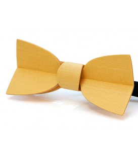 Bow tie in wood, yellow Mellissimo