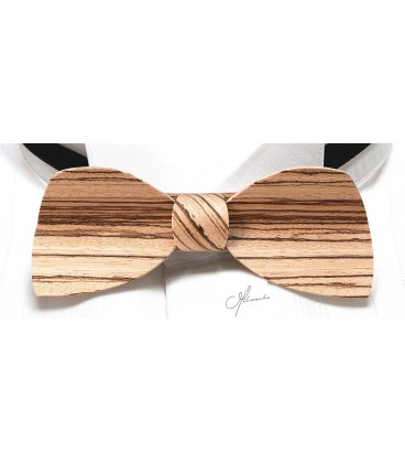 Bow tie in wood, Half-moon in Zebrano - MELISSAMBRE