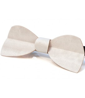 Wooden bow tie, Half-moon in white tinted Movingui