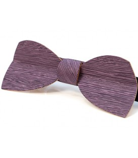 Bow tie in wood, Half-moon in lilac tinted Koto - MELISSAMBRE