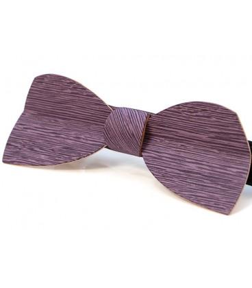 Noeud papillon en bois, Demi-lune en Koto teinté lilas - MELISSAMBRE