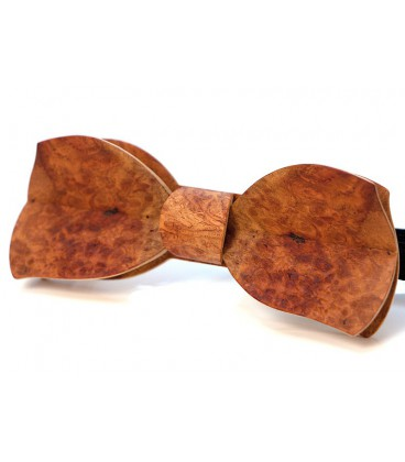Bow tie in wood, Butterfly in red Amboyna burl - MELISSAMBRE