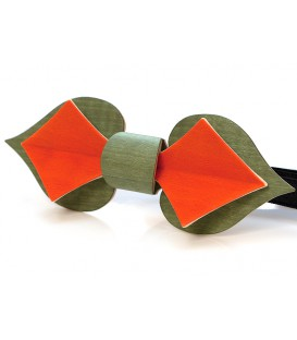 Bow tie in wood, Card nasturtium flower