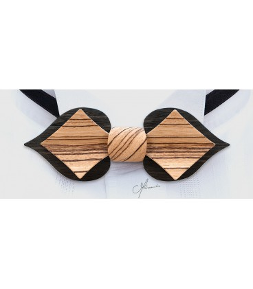 Bow tie in wood, Caerd in Marsh Oak & Zebrano - MELISSAMBRE
