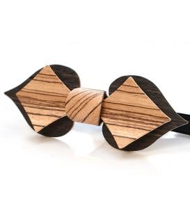 Nœud papillon en bois, Carte en Chêne des marais & Zébrano
