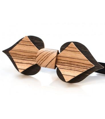 Nœud papillon en bois, Carte en Chêne des marais & Zébrano - MELISSAMBRE