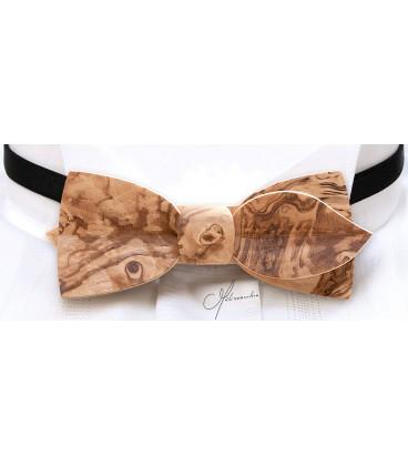 Bow tie in wood, Asymmetric in Ash-olive tree burl - MELISSAMBRE