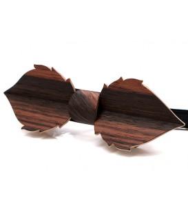 Nœud papillon en bois, Feuille en Ebène de Macassar