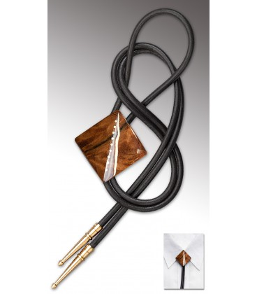 Bolo Tie in pink Gonfolo burl / Black leather cord - MELISSAMBRE