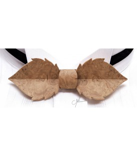 Bow tie in wood, Leaf in Oak burl - MELISSAMBRE