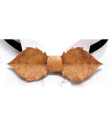 Noeud papillon bois, Feuille en loupe d'Amboine or - MELISSAMBRE