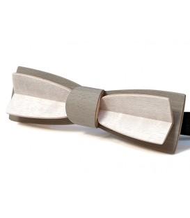 Nœud papillon bois, Stretto en Erable gris & blanc