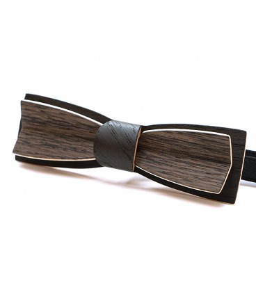 Bow tie in wood, Stretto in grey Oak & black Oak - MELISSAMBRE