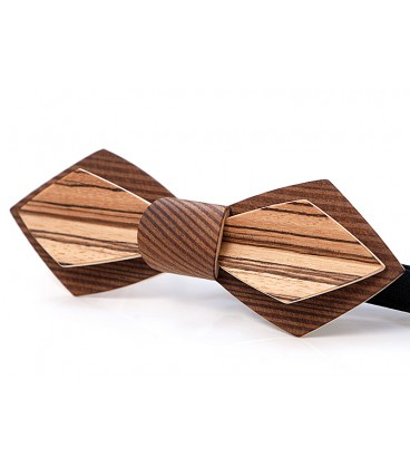 Bow tie in wood, Nib in smoked Larch & Zebrano - MELISSAMBRE