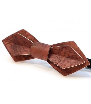 Nœud papillon bois, Plume en Bubinga pommelé - MELISSAMBRE