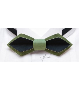 Bow tie in wood, Nib in green & black tinted Maple - MELISSAMBRE