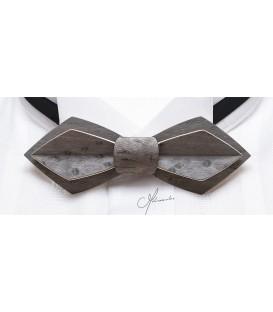 Noeud papillon bois, Plume en Erable perlé teinté gris - MELISSAMBRE