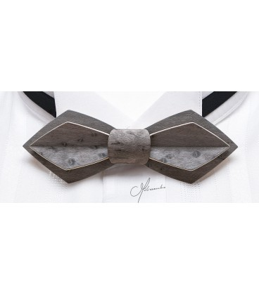 Bow tie in wood, Nid in grey tinted pearly Maple - MELISSAMBRE