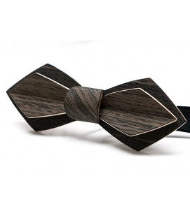 Bow tie in wood, Nib in grey & black Marsh Oak