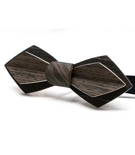 Noeud papillon en bois, Plume Chêne des marais noir et gris