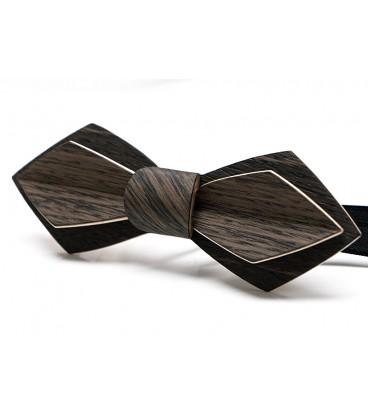 Bow tie in wood, Nib in grey & black Marsh Oak - MELISSAMBRE