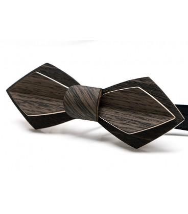 Noeud papillon bois, Plume en Chêne des marais noir & gris- MELISSAMBRE