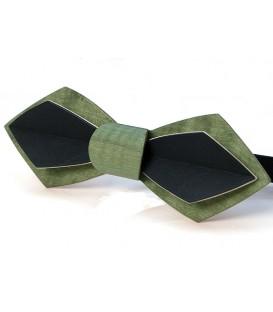 Noeud papillon en bois, Plume en Erable teinté vert & noir - MELISSAMBRE