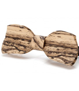 Bow tie in wood, Butterfly in white Ebony