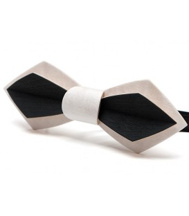 Wood bow tie, Nib in white & black tinted Maple - MELISSAMBRE