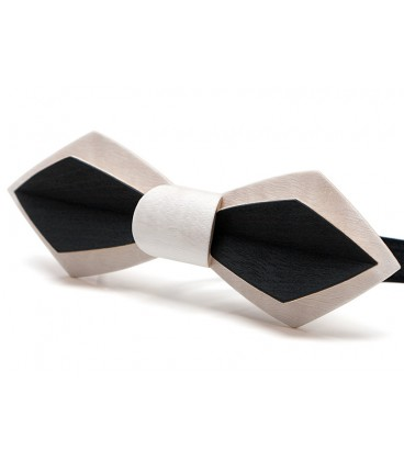 Noeud papillon bois, Plume en Erable teinté blanc & noir - MELISSAMBRE