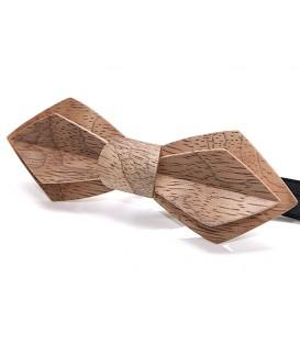 Noeud papillon en bois, Plume Bubinga argenté