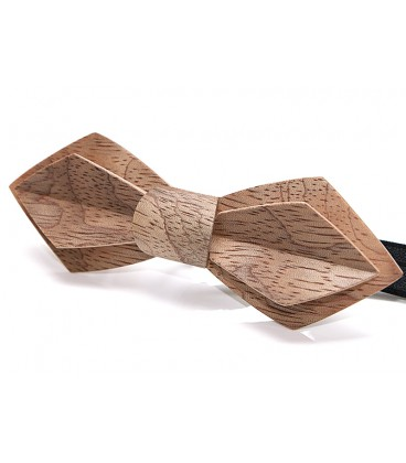 Bow tie in wood, Nib in silvery Bubinga - MELISSAMBRE