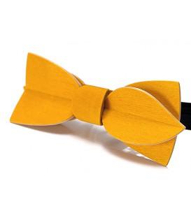 Nœud papillon bois, Asymétric en Erable teinté jaune