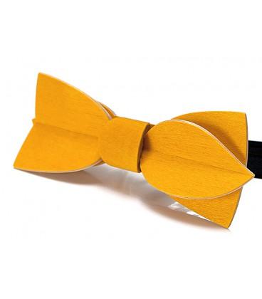 Nœud papillon en bois, Asymétric en Erable teinté jaune - MELISSAMBRE
