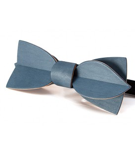 Bow tie in wood, Asymmetric in blue jean's tinted Maple
