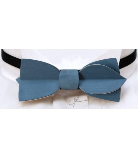 Bow tie in wood, Asymmetric in blue jean's tinted Maple - MELISSAMBRE