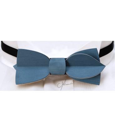 Nœud papillon en bois, Asymétric en Erable teinté bleu jean's - MELISSAMBRE